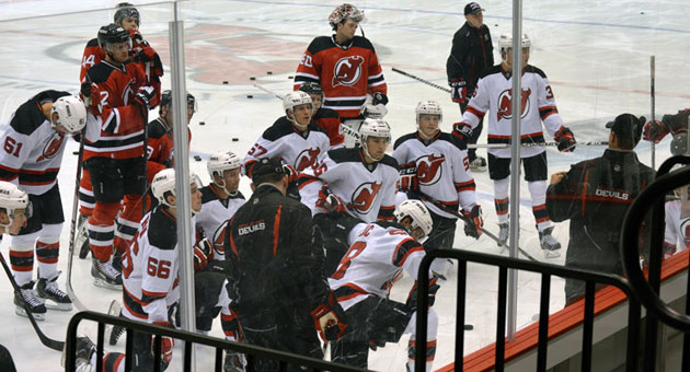 Rick Kowalsky talks to players during the 2014-15 New Jersey Devils Training Camp