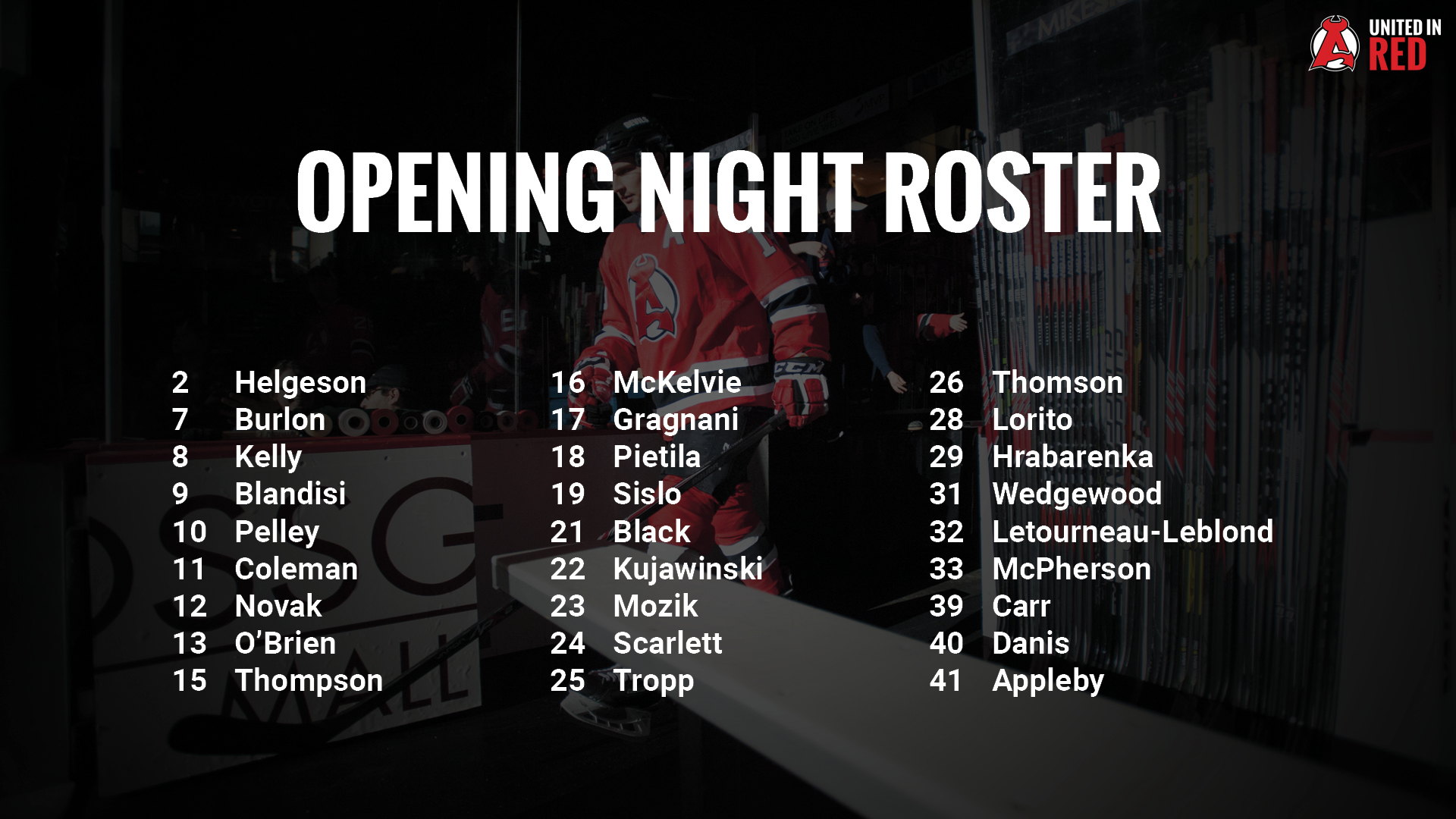 Opening Night Roster