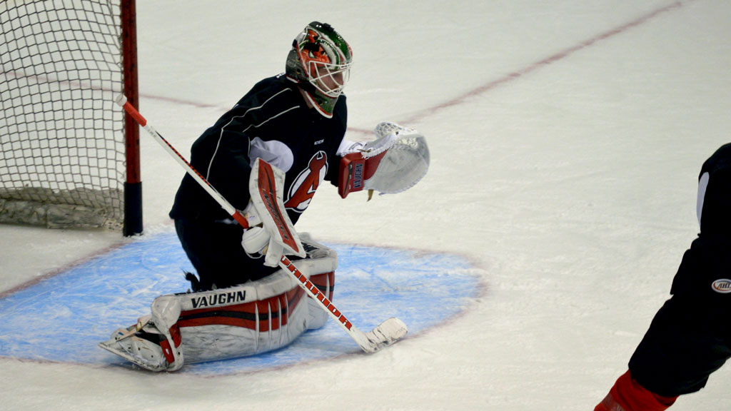 Scott Wedgewood joined the Devils for their practice Tuesday at Times Union Center.