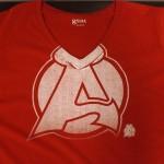 Albany-Devils-Logo-V-Neck-Women's-T-Shirt-(Red)